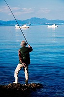 Old japanese man fishing  Minamata area  Kumamoto,Kyushu Japan