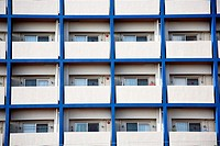Background of multi balcony on blue building