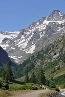 Walkers in the Valsavarenche Valley in the Gran Paradiso National Park, Alps, Italy