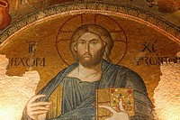 Roof mosaic of Christ the Pantocrator, Church of St. Saviour in Chora, Istanbul, Turkey, Europe