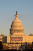 The United States capitol building with beautiful sunset lighting