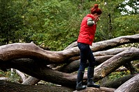 A young woman balancing on a fallen tree