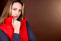 Portrait of a mid adult woman wearing a red gilet