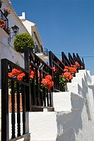 Red Geraniums on Steps, in Mijas, Costa del Sol, Spain