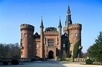 D-Bedburg-Hau, Lower Rhine, North Rhine-Westphalia, D-Bedburg-Hau-Till-Moyland, Moyland Castle, water castle, Tudor Gothic, neo-Gothic, museum, art ex...