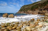 Porth Nanven in Cornwall UK
