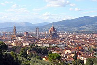 Overview of Florence seen from the hills, in Tuscany, Italy