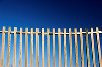 Beautiful wood fences over a great blue sky