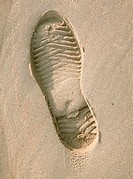 Trace from a boot on sand