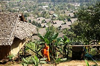 Buddhist monk in the Mae Sot refugee camp  Around 130,000 Burmese refugees have settled in Thailand due to opression in their homeland of Myanmar Burm...