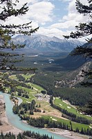 Golf course next to Bow River, Banff National Park, Alberta, Canada