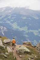 male hiker on a trail, mayrhofen, tyrol tirol, austria