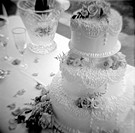 Close_up of a wedding cake on a table