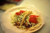 High angle view of two soft tacos