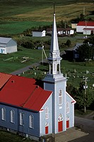 Aerial of a church on the South Shore of Quebec, Canada