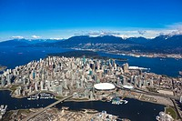 Aerial view of Vancouver in the spring