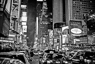 New York city street scene at night