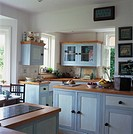 View of a blue wood kitchen