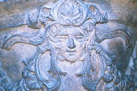 Close_up of sculptures on a wall