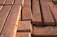 Close_up of brick panels on the ground