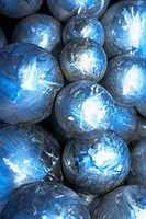 Close_up of a pile of silver balls