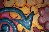 Close_up of graffiti on a wall