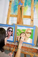 Florida, Miami Beach, Lincoln Road Mall, ArtCenter South Florida, art, watercolor class, painting, adult education, student, hobby, woman, easel, pain...
