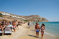 Elia Beach, Mykonos, part of the Cyclades in the Aegean See, Greece