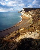 The cliffs of Bats Head and Swyre Head by Durdle Door on the Dorset Jurassic Coast, West Lulworth, Dorset, England, United Kingdom