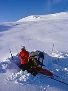 Ski adventurer at Hrafntinnusker, Myrdalsjokull, Iceland.