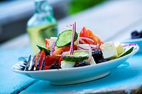 Greek salad with cucumber, tomatoes and feta cheese