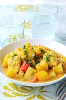 Monkfish ragout with pineapple and red pepper