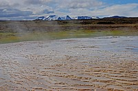 Geothermal area Hveravellir, Sinter with small terraces, Hrútfellsjökull in the background, icelandic highlands, Iceland