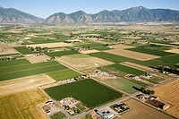 Aerial view of farms and mountains, Provo, Utah, USA