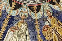 Mosaic in Baptistry of Neon Battistero Neoniano, Orthodox Baptistry, UNESCO World Heritage site, Ravenna, Emilia-Romagna, Italy