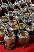 Mate gourds for sale at the street market in Constitution Square, Montevideo, Uruguay