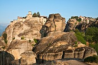 Looking up at the monasteries of Varlaam left and the Great Meteora right, at Meteora, Kalambaka, Thessaly, central Greece