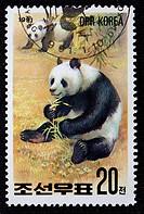Giant panda Ailuropoda melanoleuca, postage stamp, North Korea, 1991