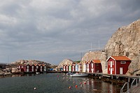 Houses at a harbour, Smoegen, Sweden