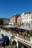 Summer visitors relaxing on the riverside terrace at Richmond-upon-Thames, London, England, UK
