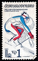 XIII Winter Olympic games, Lake Placid 1980, postage stamp, Czechoslovakia, 1980