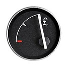Fuel gauge with pound symbol