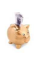 Gold piggy bank with pound notes