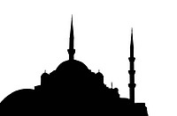 silhouette of mosque. Black on a white background