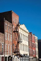 USA, Louisiana, New Orleans, buildings along Decatur Street, morning