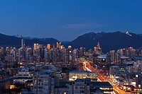 Vancouver, British Columbia, Canada, view up Cambie Street to downtown