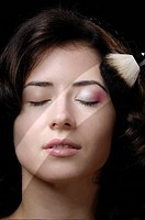 Young beautiful woman face. Beauty treatment concept.