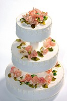 Wedding cake decorated with marzipan roses