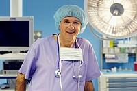Surgeon, operating room. Hospital Policlinica Gipuzkoa, San Sebastian, Donostia, Euskadi, Spain