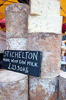 Stichelton stilton cheese on sale at Borough market  One of a new generation of great blue cheeses produced from unpasteurised milk in Britain   Borou...